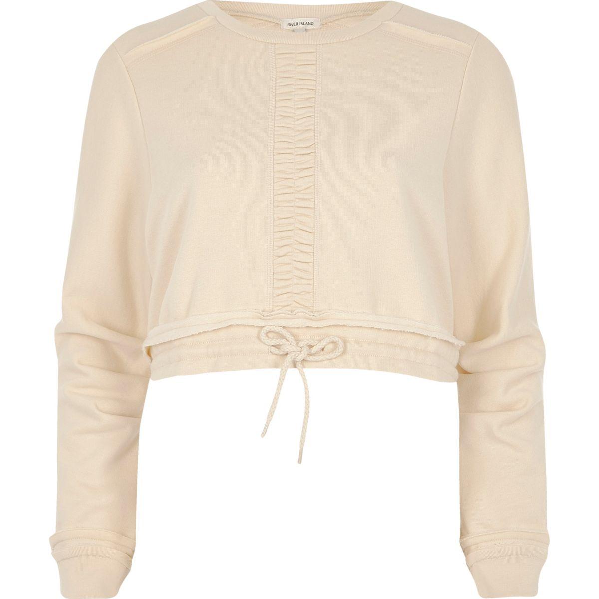 Light beige ruched cropped sweatshirt