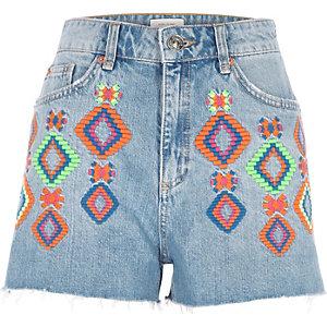 Short en jean brodé bleu authentique fluo
