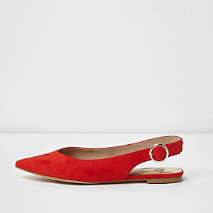Red pointed slingback shoes