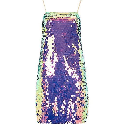 Purple iridescent sequin slip dress
