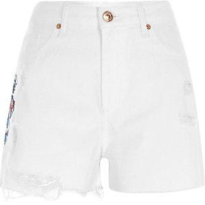 Witte denim short met hoge taille en drakenprint