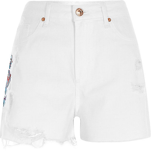 White dragon high waisted denim shorts