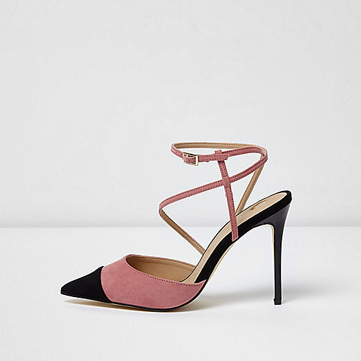 Pink strappy toe cap court shoes