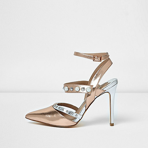 Gold metallic embellished strappy pumps