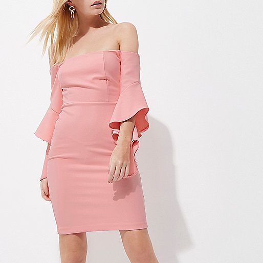 Petite pink frill sleeve bardot bodycon dress