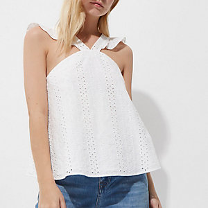 Petite white broderie frill cross neck top