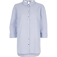 Purple stripe tie back oversized shirt
