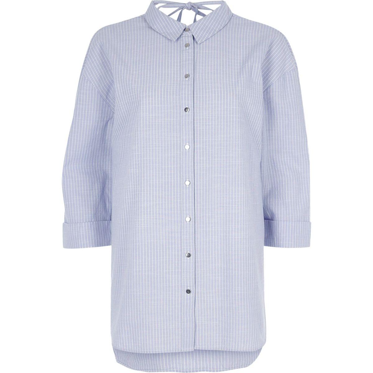 Purple stripe tie back oversized shirt