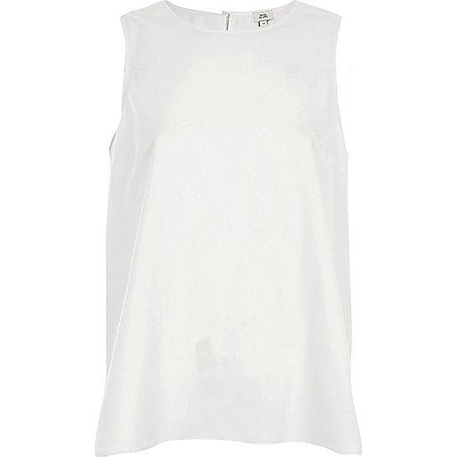 White tie back vest