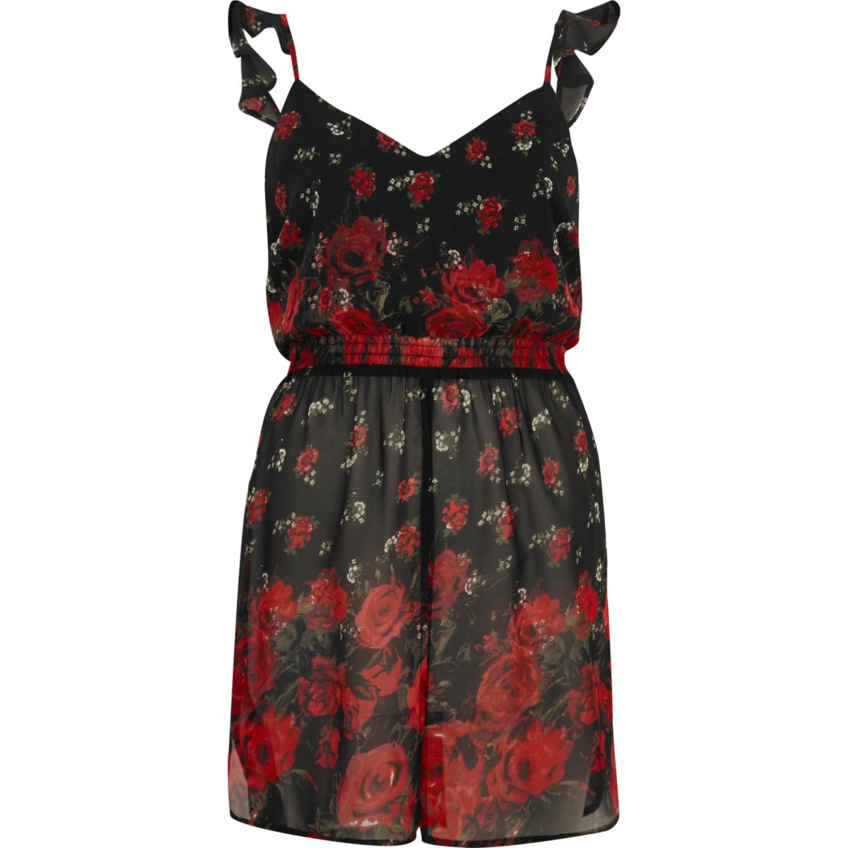 Red floral print longline frill cami top