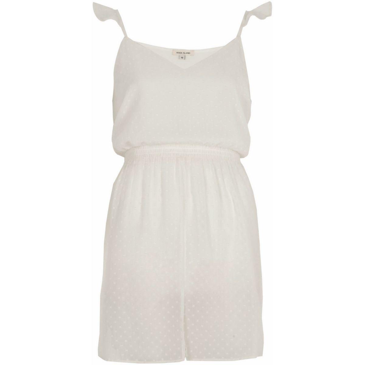 White dobby mesh longline frill cami top