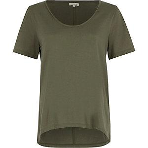 Kakigroen T-shirt met lage hals