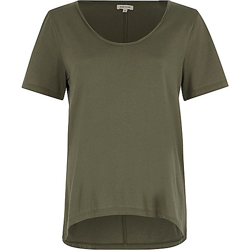 Khaki green scoop neck T-shirt