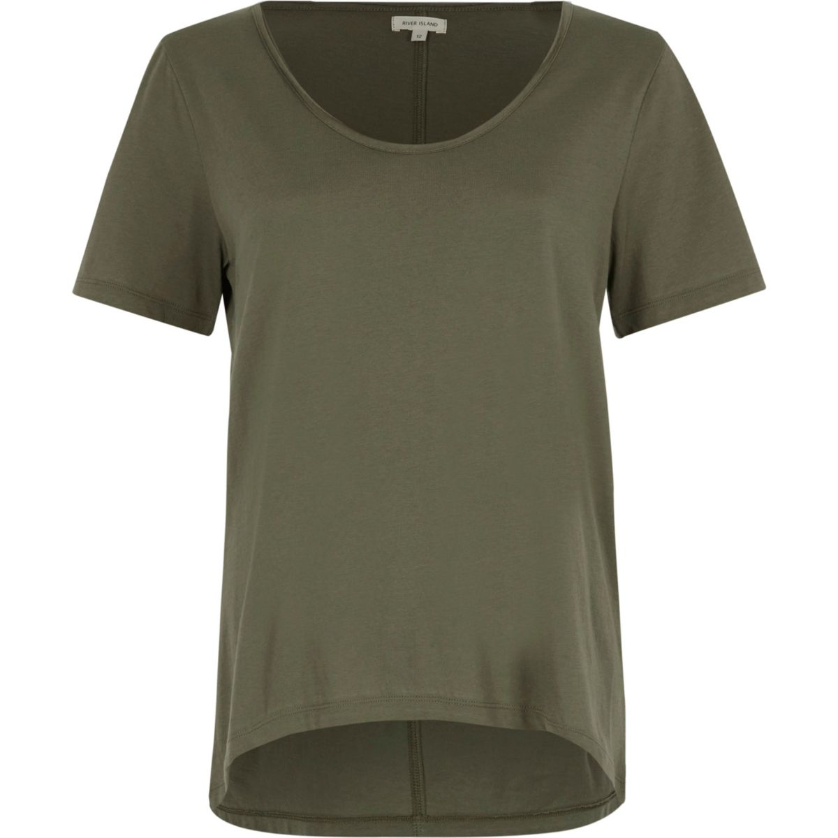 Khaki green scoop neck T-shirt