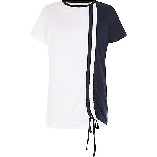 Navy ruched colour block T-shirt