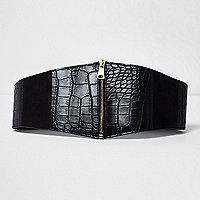 Black croc wide zip waist belt