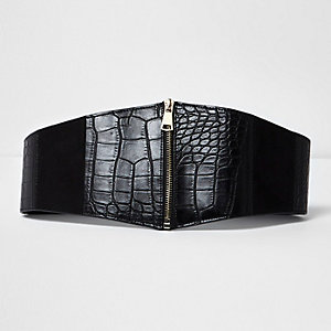 Black croc wide zip waist belt