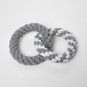 Grey RI Dog ring rope toy