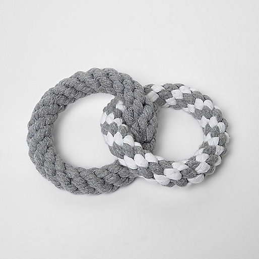 Grey RI Dog ring rope toy