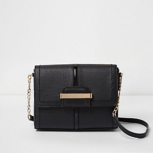Black croc square mini cross body chain bag