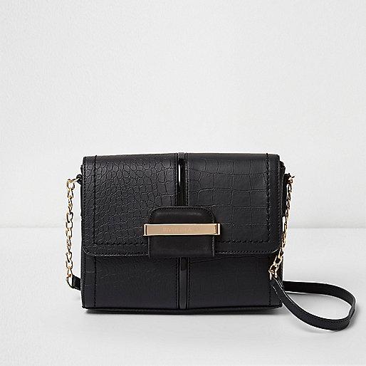 Black croc square mini cross body chain bag