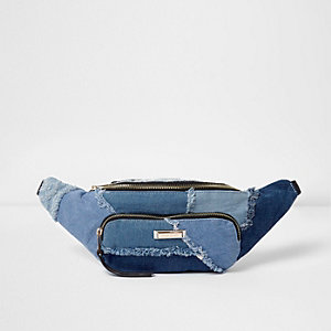 Blue denim patchwork bumbag
