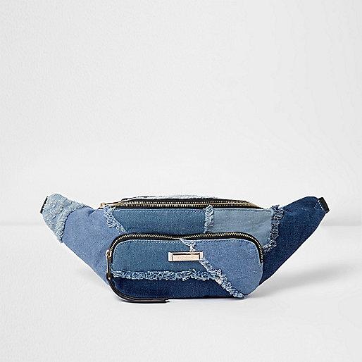 Blue denim patchwork bumbag