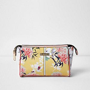 Yellow floral print make up bag
