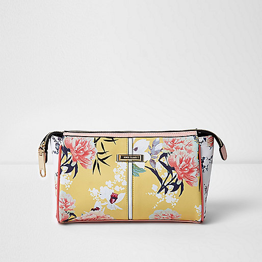 Yellow floral print make up bag
