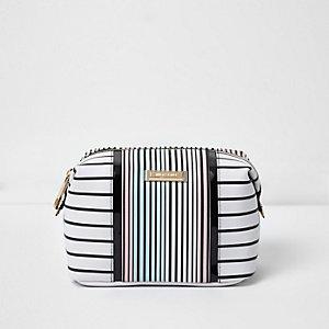 White stripe print make-up bag