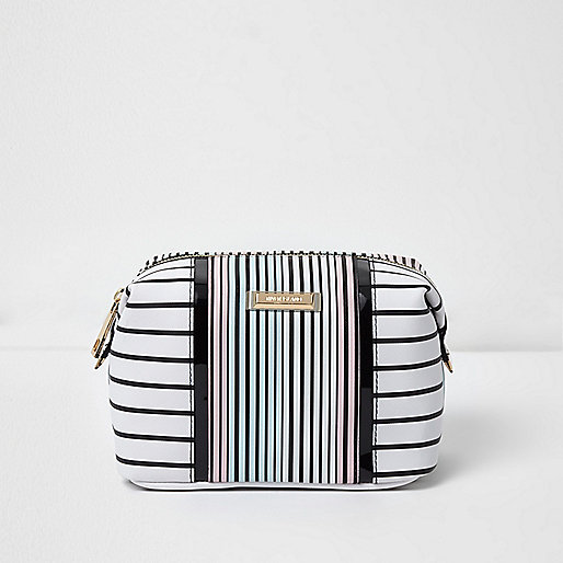 White stripe print make-up bag