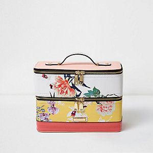 Yellow floral print vanity case bag
