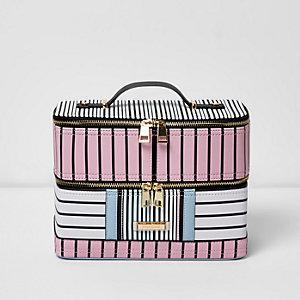 Pink and blue stripe vanity case