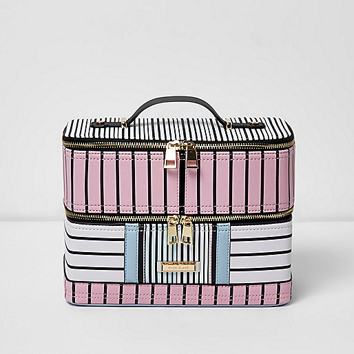Pink and blue stripe vanity case