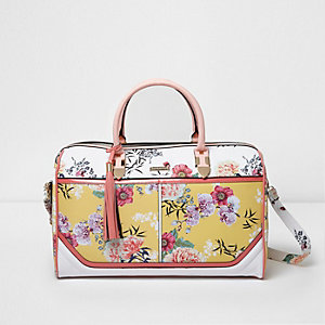 Yellow floral print weekend bag
