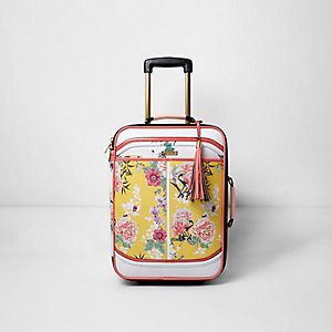 Yellow floral print cabin suitcase