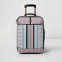 White stripe print cabin suitcase