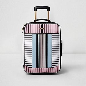 Witte handbagagekoffer met strepenprint