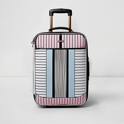 White stripe print cabin suitcase
