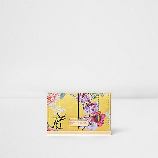 Yellow floral print card holder
