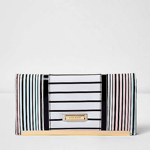White blue and pink stripe travel wallet