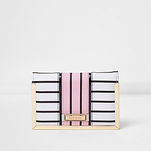 White blue and pink stripe passport holder