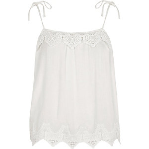 White cutwork lace tie shoulder cami top