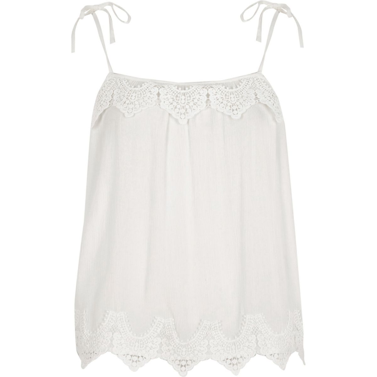 Weißes Camisole mit Zierausschnitten