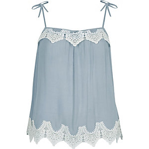 Blue lace trim bow shoulder cami top