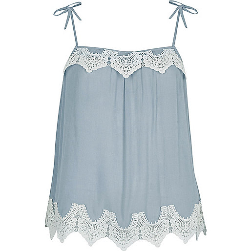 Blue lace trim bow shoulder cami top