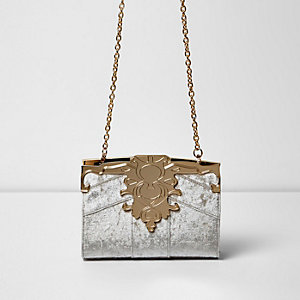 Beige baroque velvet chain bag