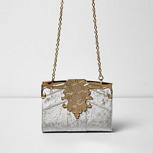 Beige barokke fluwelen tas met ketting