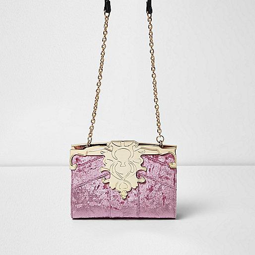 Pink baroque velvet chain bag