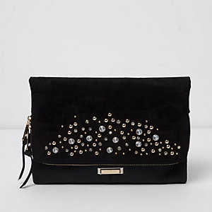 Black embellished foldover clutch bag